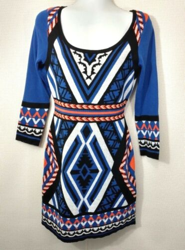 Flying Tomato Blue Orange Sweater Dress Size M Me… - image 1