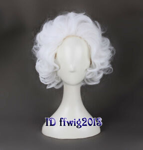 Old Man White Short Curly Fluffy Wig Einstein Professor Mad Cosplay Wig