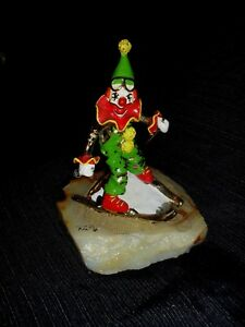 VTG-SIGNED-RON-LEE-SKIING-CLOWN-on-Onyx-base-24k-Plated-amp-PAINTED-SCULPTURE-8-034