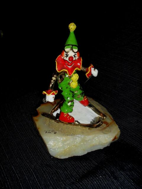VTG SIGNED RON LEE SKIING CLOWN on Onyx base 24k Plated & PAINTED SCULPTURE 8