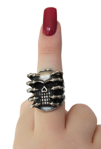 100% QualitäT Ring Männer Damen Massiv Totenkopf Silber Gothig Biker Skull Spider Exzellente QualitäT