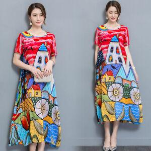 Summer-Women-Floral-Printing-Chiffon-Silk-Short-Sleeve-Beach-Dress-Loose-Casual