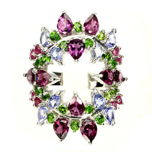 Pear-Rhodolite-Garnet-Chrome-Diopside-Ruby-Tanzanite-925-Sterling-Silver-Ring-9