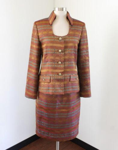 Set Copper Freeman Skirt Suit Teri Rickie 4 Saks Floral Size Fifth Striped Jon wv4waqXdx