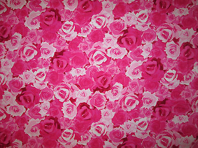 PARIS ROSES FLOWERS PINK ROSE COTTON FABRIC FQ