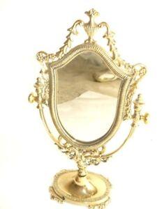 Muebles Antiguos Y Decoración Fine Espejo Espejo Marco De La Barroco Latón Pulido Oval