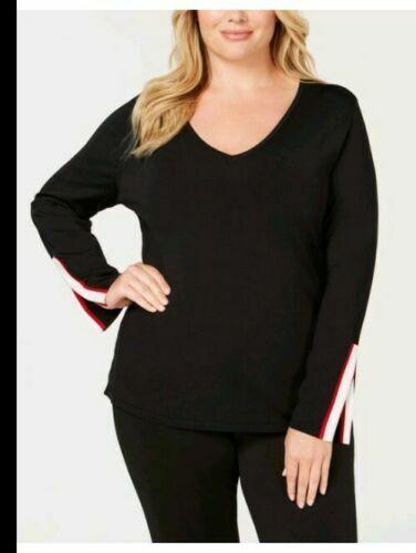 INC Womens Striped Bell-sleeve V Neck Blouse Shirt Top