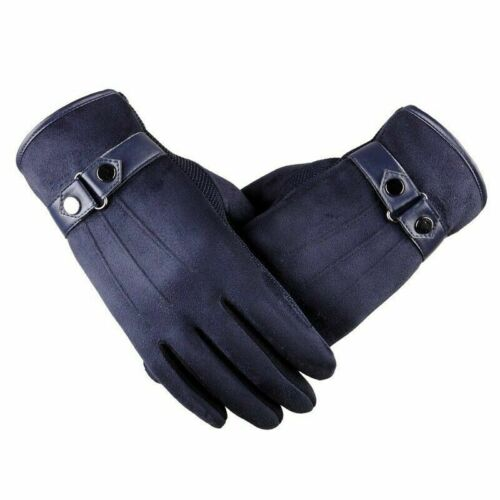 Fashion Men/'s Winter Warm Suede Leather Fleece Lined Touch Screen Driving Gloves