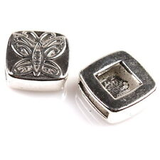 15x 161701 Tibetan Silver Butterfly Square Spacer Beads Slider for Leather Cords