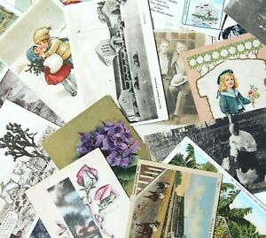Mixed-Lot-of-39-Vintage-Postcards-Some-Early-1900s-RPPC-Victorian-Travel-Linen
