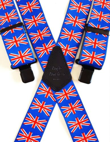 "Mens Braces Heavy Duty 1.5/"" or 2/"" England Scotland Welsh Shamrock Union Jack"
