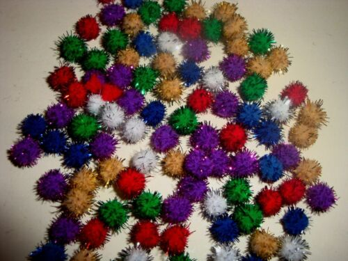 """100 GLITTER POM POMS 7mm MIXED COLOURS PACK  Christmas//Card Craft 1//4/"""""""