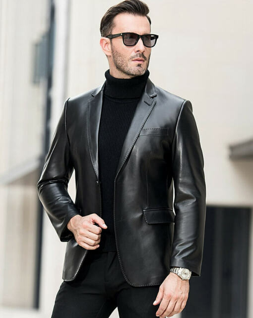 Brand New Men/'s Genuine Soft Pure Lambskin Leather TWO BUTTON Blazer Jacket Coat