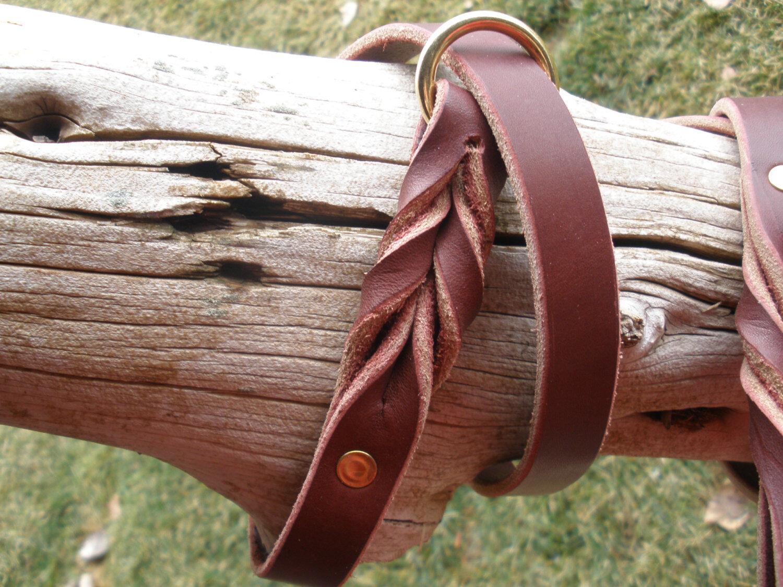 2- LATIGO LEATHER 1  X 36  DOG SLIP LEASH COLLAR COMBO BRASS RINGS & RIVETS, NEW