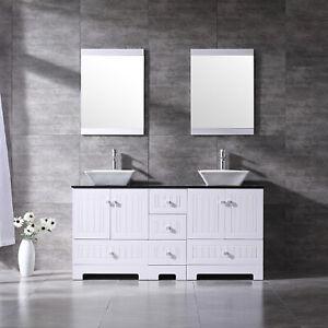 60 Bathroom Vanity Wood Cabinet Double Sinks W Faucet Mirror Glass Top Set Ebay