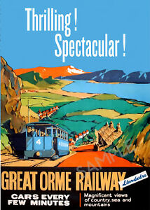 Vintage Transport Railway Rail Travel Poster RE PRINT North Wales 2