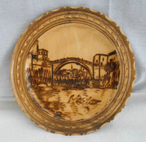 "8"" Diameter Circular Plaque with Wood Burned Bridge, River and Old Cityscape"