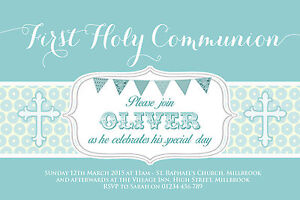 10 personalised boys first holy communion invitations thank you