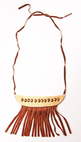 ZX24 HAND-CRAFTED BROWN SUEDE TASSELS CHOKER FUNKY STUDDED LEATHER DETAIL