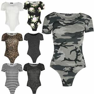 NEW WOMENS LADIES STRETCH LONG SLEEVE CAMOUFLAGE PRINT BODYSUIT LEOTARD TOP 8-14