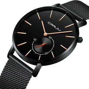 93e715e97 New Men's Watch Luxury Quartz Watch Slim Mesh Steel Waterproof Sport ...