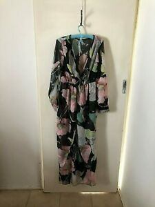 Multicoloured-Floral-Long-Sleeve-Maxi-Dress-Size-XL-Womens