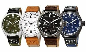 Men-039-s-Joshua-amp-Sons-JX145-Multifunction-Day-Date-Canvas-Leather-Strap-Watch