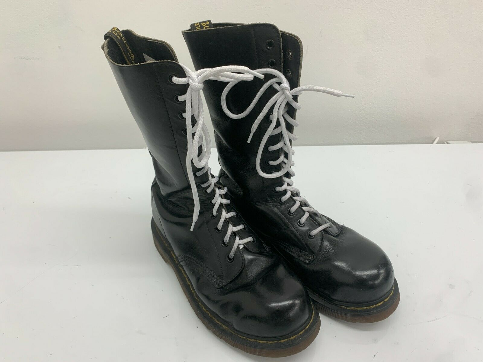 Dr Martens Boots 14 Eyelets Black Leather, Size 6UK, Made In England Steel Toe