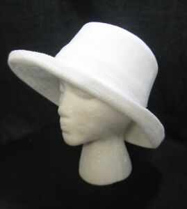 Women s White Bucket Hat Inside String Adjustment Wide Turned Brim ... 7cf921fdf2