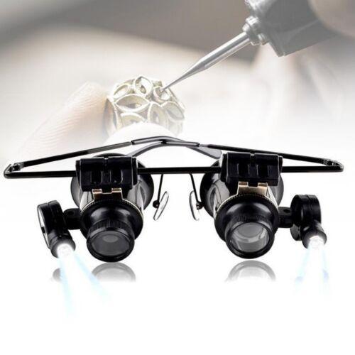 20X fach Juwelier Uhrmacher Lupe LED Brillenlupe Lupenbrille Vergrößerungsglas ∩