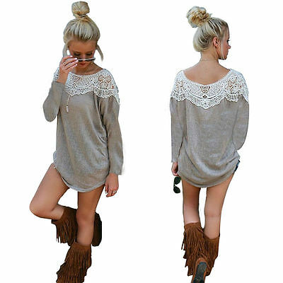 UK Boho Womens Lace Casual Short Sleeve Long Tops Blouse T-Shirt Mini Dress