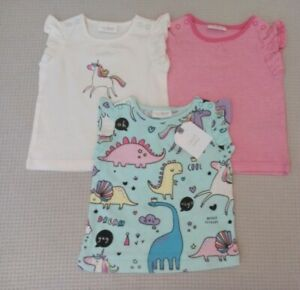 BNWTS-NEXT-Baby-Girls-3x-Pink-Unicorn-Embroidered-Summer-T-Shirts-Tops-0-3months