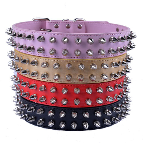 Spiked Studded Dog Collar Pu Leather Rivets Boxer PitBull Necklace Adjust18-22/'/'