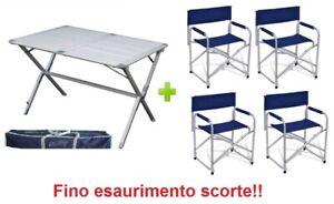 Tavolo E Sedie Campeggio.Dettagli Su Tavolo Tapparella Campeggio Argo 110x70x72h Alluminio Borsa 4 Sedie Regista