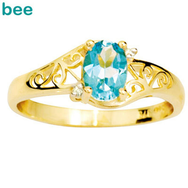 Blue Topaz Diamond 9ct 9k Solid Yellow Gold Ring Size P 7.75 24834/BT
