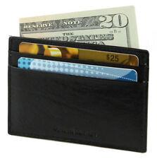 Black Genuine Leather Men's Credit Card Holder Holder Thin Cowhide Wallet L15