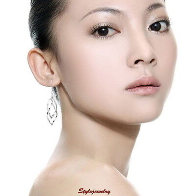 Solid Womens 925 Sterling Silver Filigree Heart Wedding Bridal Stud Earring XE74