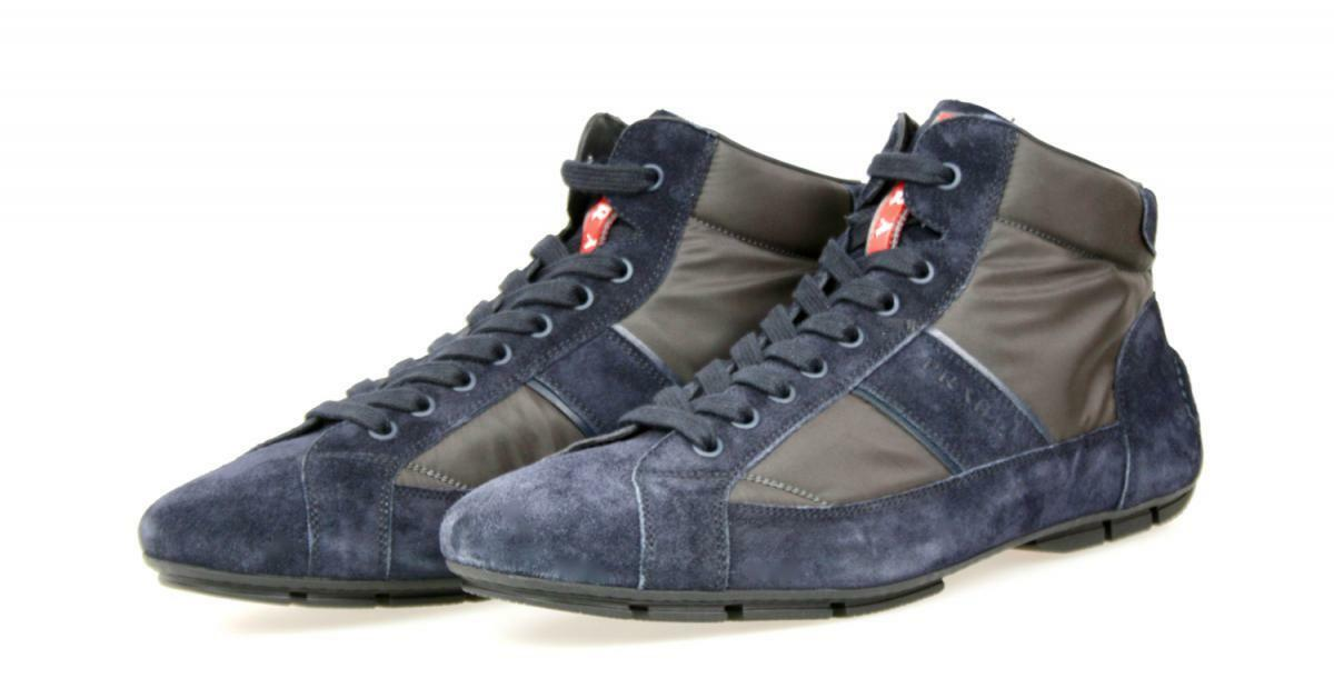 AUTHENTIC LUXURY PRADA HIGH TOP SNEAKERS SHOES 4T2924 BLUE US 11