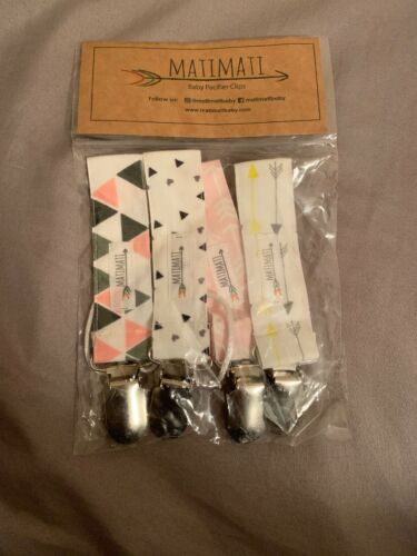 Pacifier//Teething Ring Clip for Girls by Matimati Baby 4 Pack Blush Arrow Set