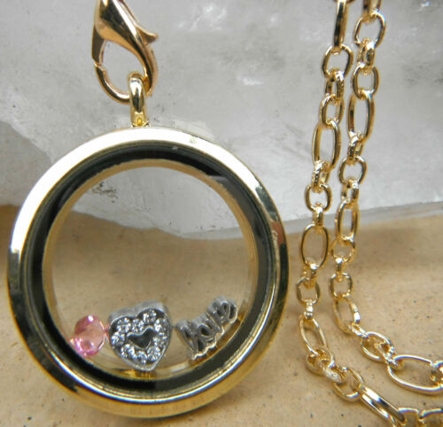 """Heart-shape//Disc Charms on 26/"""" Necklace Diamante Living Memory Locket 30mm"""