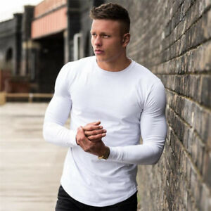 Men-039-s-New-Sport-Fitness-Solid-Long-Sleeve-Workout-Training-Gym-T-Shirts-Clothes