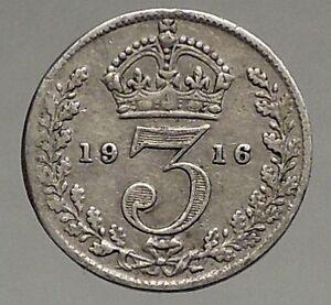 1916-UK-Great-Britain-United-Kingdom-KING-GEORGE-V-Silver-Threepence-Coin-i56819