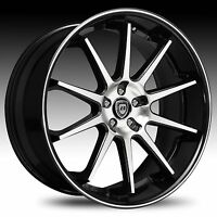 22 Lexani Wheels R-10 Stagger Black Rims Tires Fit Bmw 745 750 Challenger S550