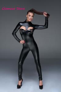 Sexy Tutina Catsuit APERTA NERA Power Wetlook Laccetti Zip 2 vie Fashion GLAMOUR