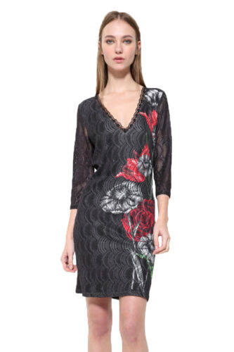 Desigual Black V-neck Floral Sofia Dress XS-XXL UK 8-18 RRP �94