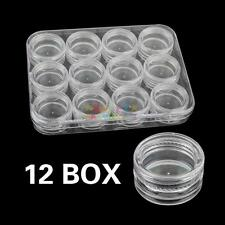 H3E# Empty 12 Jars Nail Art Tools Storage Box Case Tips Flexible Organiser Cells