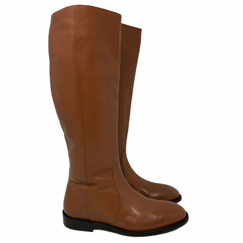 J.CREW Womens Quinn J8505 Riding Boots Brown Leather Side Zip Knee High 5