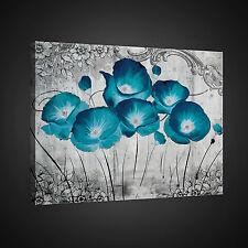 CANVAS WANDBILD LEINWANDBILD FOTO BILD BLUMEN GRAU BLAU MOHN ORNAMENT 3FX2378O1
