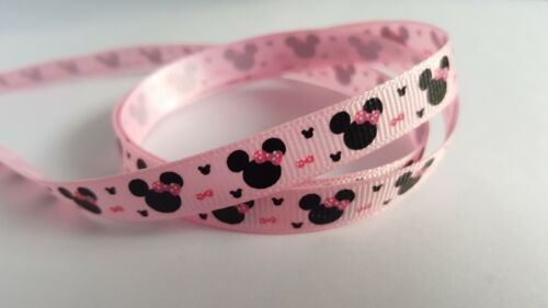 Various Colours Available Cartoon Mouse 3m Ribbon Printed Grosgrain 9mm