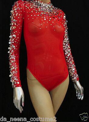 Da NeeNa L037 Lilac Moulin Rouge Burlesque Crystal Nude Leotard Bodysuit XS-XL